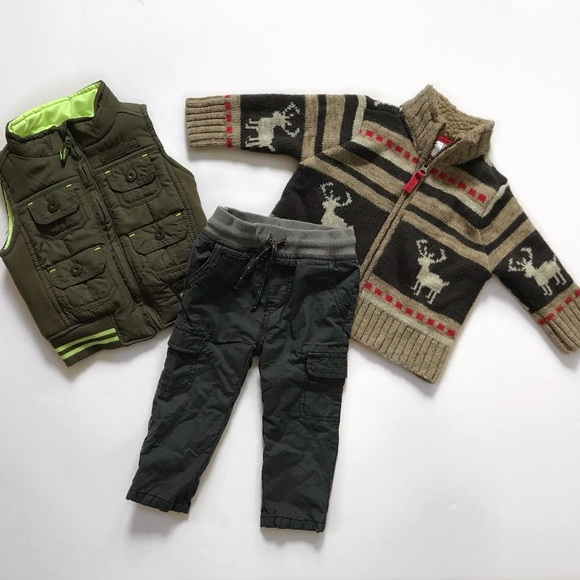 2dc07ec4 Carter's Shirts & Tops | Baby Boy Outfit Sweater Vest Pants Size ...